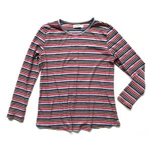Roommates Striped Ribbed Soft Knit Long Sleeve Tee